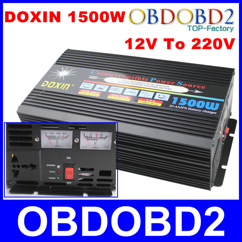 With UPS System Doxin 1500W Power Inverter 20A Battery Charger DC 12V To AC 220V 1500 Watt Converter Power Source For Car House(China (Mainland))