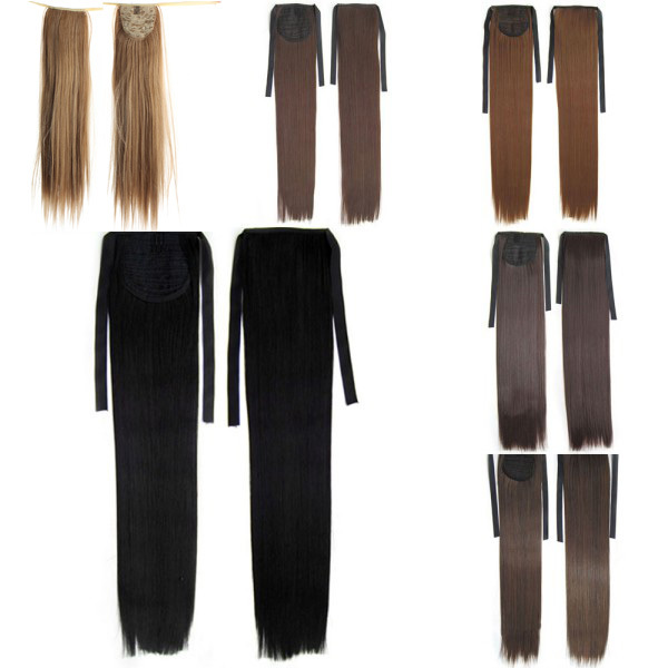 Retail Wholesale Long Lady Women Straight Claw Clip Ponytail Pony Tail Hair Extension(China (Mainland))
