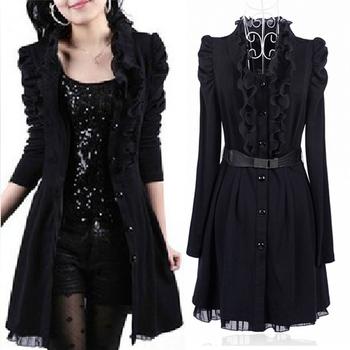 Осень зима плащ пальто женщины черный кружево платье пальто женское длинная - рукав ...