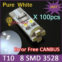 Wholesale Free shipping T10 Error Free Canbus led lamp W5W/194/T10 8 SMD 3528 LED Car Instrument lights white 100pcs/lot(China (Mainland))