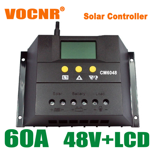 60A Solar Controller LCD Charge Controller 48V PV Panel Battery Charger Controller Solar System Home Indoor Use