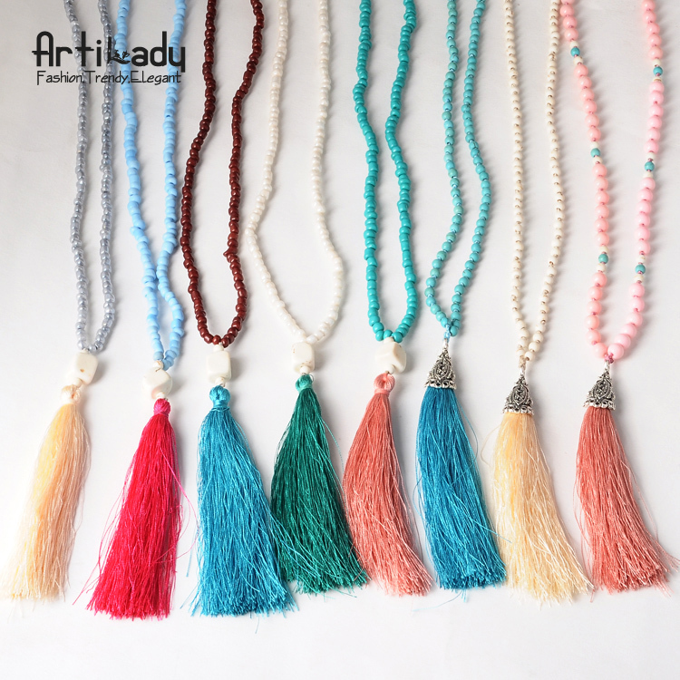 Artilady beads tassels necklace vintage colorful beads women tassels pendant necklace women jewelry for women necklaces(China (Mainland))