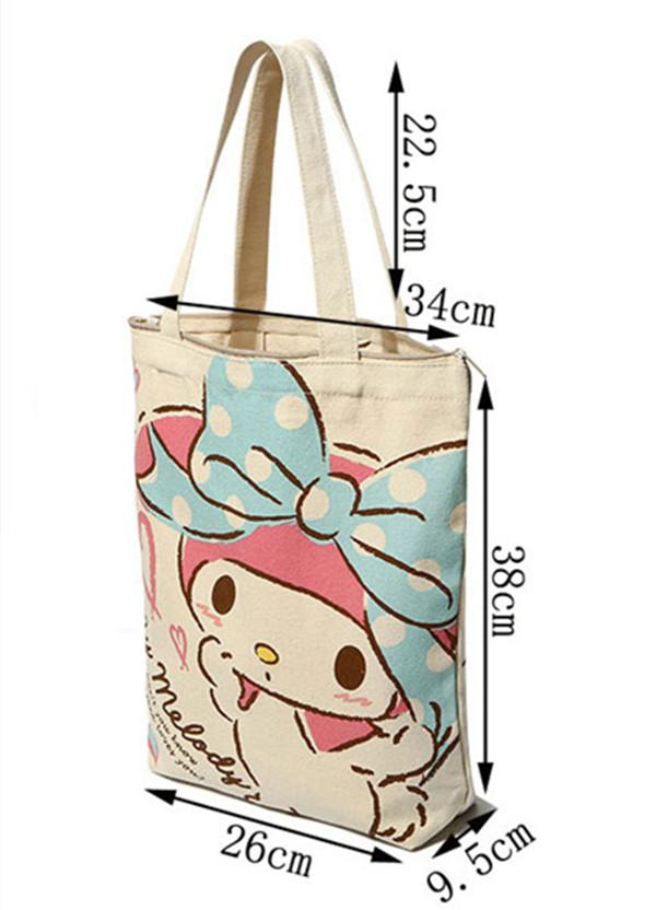 Kawaii Hello Kitty Melody Reusable Canvas Shopping Bag Zipper Women  Shoulder Bags Tote Handbag Cartoon School Book Bag 2d6e0e6d43