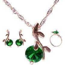 Alta qualidade elegante cor de ouro cristal austríaco pingentes colares brincos conjuntos de jóias de noiva para mulher(China)