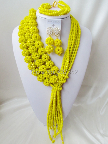 Splendid 2015 New Opaque Yellow Crystal Ball Costume Necklaces Nigerian Wedding African Beads Jewelry Set NC1167<br><br>Aliexpress