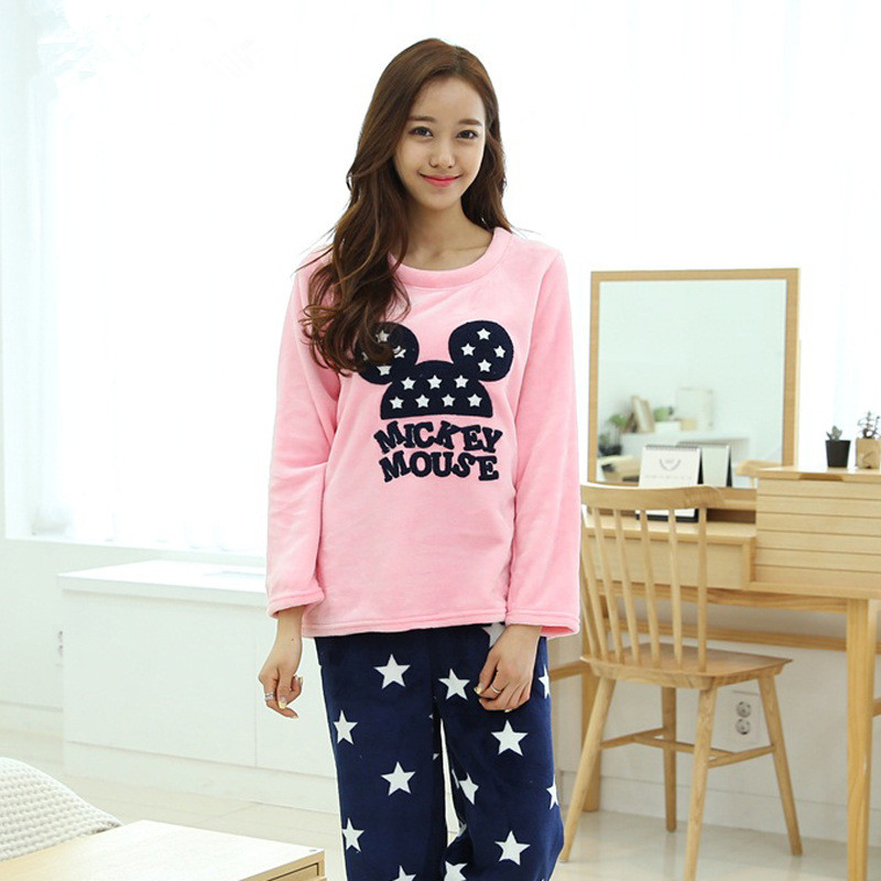 Cute Winter Womens Pajamas Sets Flannel thick Long Sleeve ...