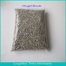 Wholesale 10000pcs/bag 5*3*3mm 7#Light blonde Aluminium Silicone Lined Micro Rings/Links/Beads for Feather Human Hair Extensions(China (Mainland))