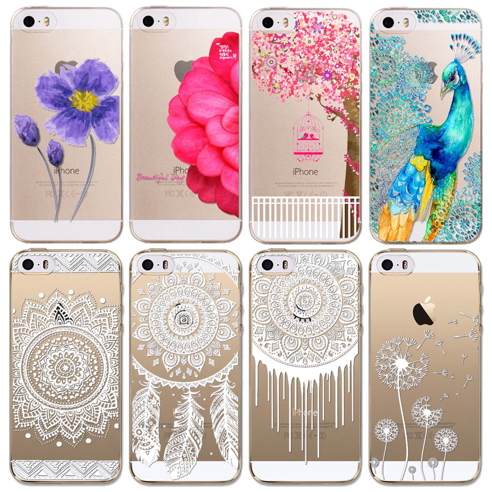 Phone Cases for iPhone 5 5s 5G New Arrival Luxury Silicon Clear Vintage White Paisley Flower