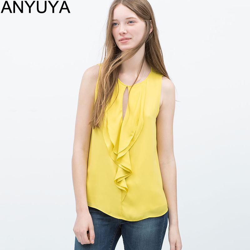Women Chiffon Blouse Blusas 2015 Summer Shirt Tops Fashion Ruffles Sleeveless O-neck Blue Yellow Black White Blouses BL0009(China (Mainland))
