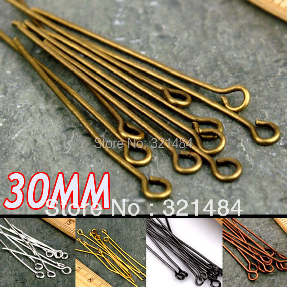 Hot Sale 10000piece/Lot 30mm Jewelry Eye Head pin DIY Findings Accessories Color can pick up<br><br>Aliexpress