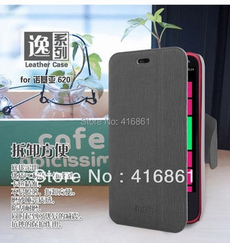 Free shipping MOFI leather case for Nokia 620 Lumia 620, colorful high quality side-turn case + retailed package