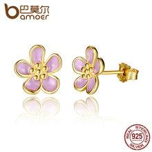 BAMOER Romantic 2 Color 925 Sterling Silver Cherry Blossom Stud Earrings, Purple Enamel Earrings for Women Fine Jewelry PAS447(China (Mainland))