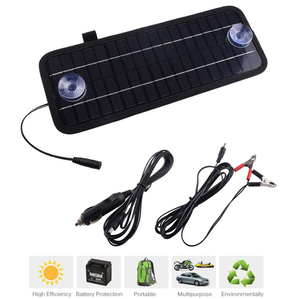 High quality 12V 4.5W Monocrystalline Solar Panel Module System Car Automobile Boat Portable Rechargeable Power Battery Charger(China (Mainland))