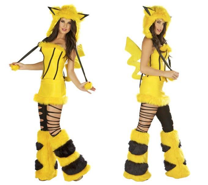 Пижамки ножками покемон Пикачу взрослых пушистый хвост костюм для женщин  Хэллоуин меха животных костюмы косплей 384f6ff58acfe