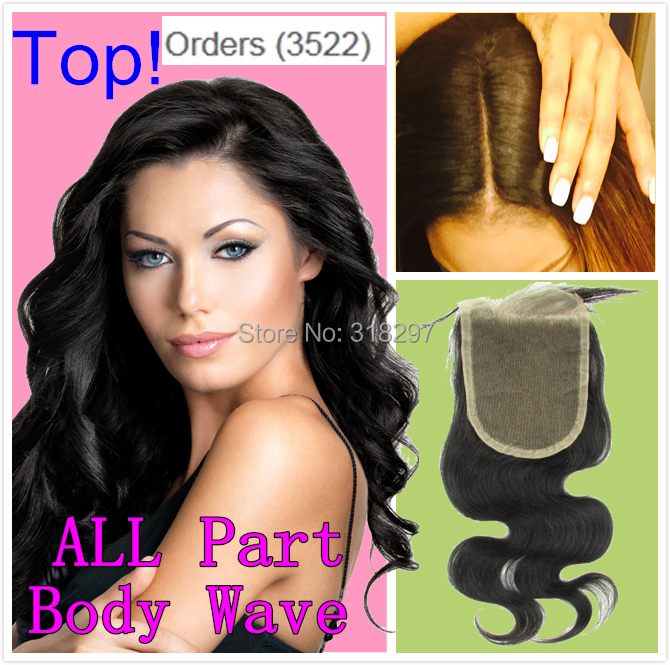 8A Brazilian Virgin Lace Closure Side Middle 3 Part Hair Closure Brazilian Human Hair Body Wave 4X4 Bleached Knots Top Closure(China (Mainland))