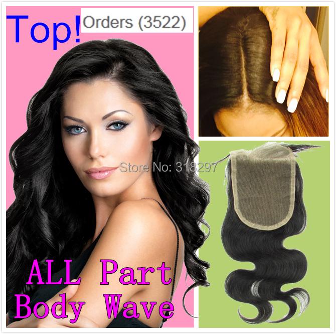 8A Brazilian Virgin Lace Closure Side Middle 3 Part Hair Closure Brazilian Human Hair Body Wave 4X4 Bleached Knots Top Closure(China (Mainland))