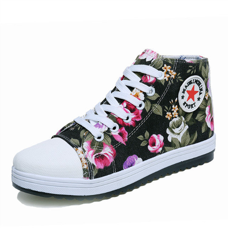 Brand New 2015 High Top Sneakers Floral Printed Canvas shoes Women flats Casual Ladies Shoes Sneaker For Women Espadrilles PX118<br><br>Aliexpress