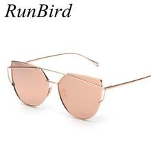 RunBird Mirror Flat Lense Women Cat Eye Sunglasses Classic Brand Designer Twin-Beams Rose Gold Frame Sun Glasses for Women M195