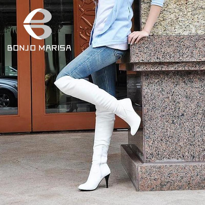 Big size 34-47 fashion high heels knee boots women shoes patent leather brand designer sexy boots XB044(China (Mainland))