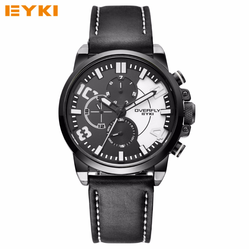 Watches Mens EYKI TOP Brand Luxury Leather Military Army Sports Quartz Watch Waterproof Wrist Watches For Men Reloj Hombre 2016(China (Mainland))