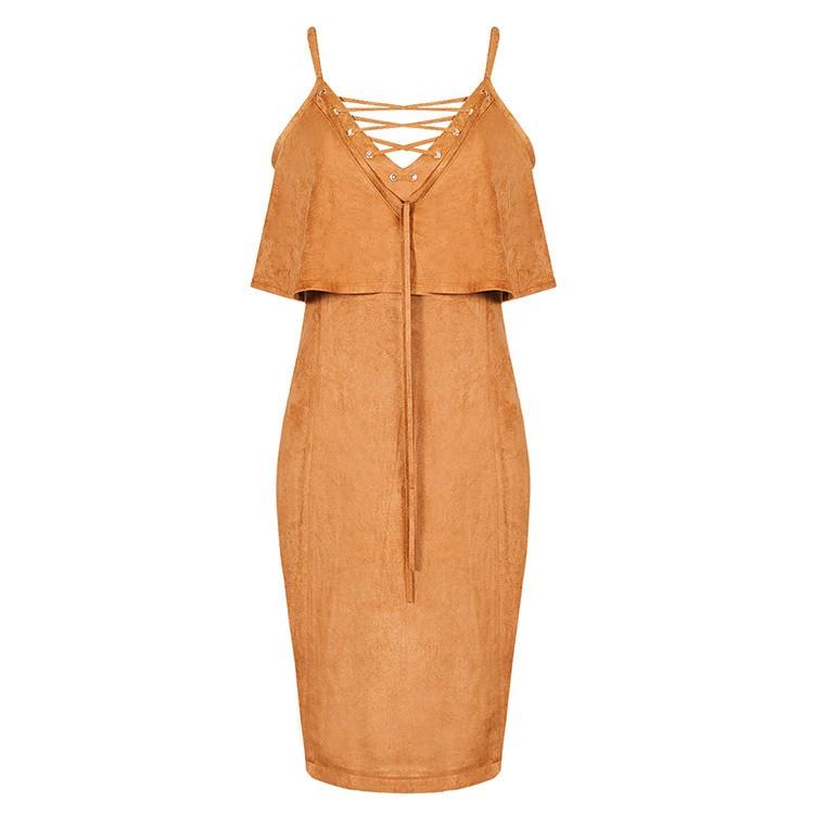 2016 new high fashion sexy summer women dress tan suedette frill midi dress party dress wholesale(China (Mainland))