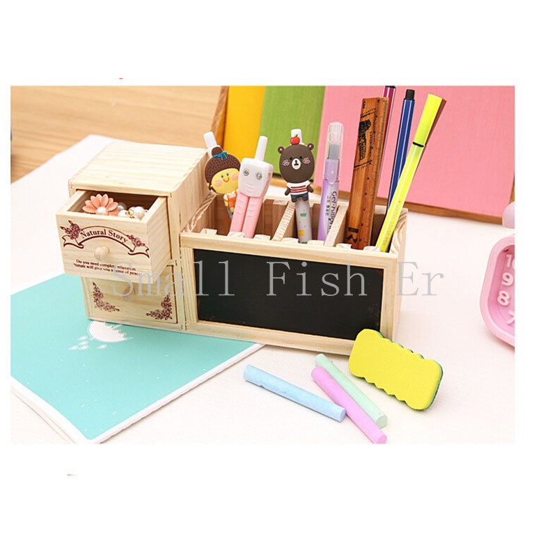 Multifunctional wooden pencil case pencil box DIY creative drawer stationery box/Pen container High - grade gift box(China (Mainland))