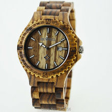 Free Shipping Mens Wooden Watches Top Brand Luxury Watch 2014 Newest Japan Movement Zebra Wood Men Big Wristwatches With Giftbox
