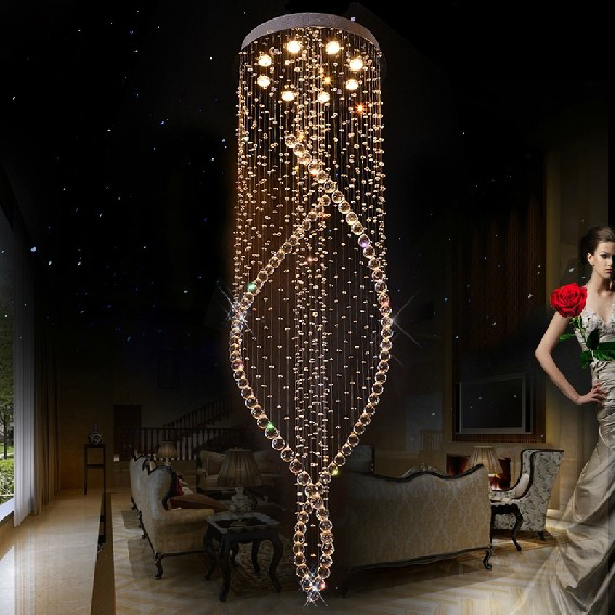 Free Shipping Double Spiral Modern Crystal Chandelier For Home Dia60*h200cm Lustres De Cristal Stair Hall Lighting(China (Mainland))