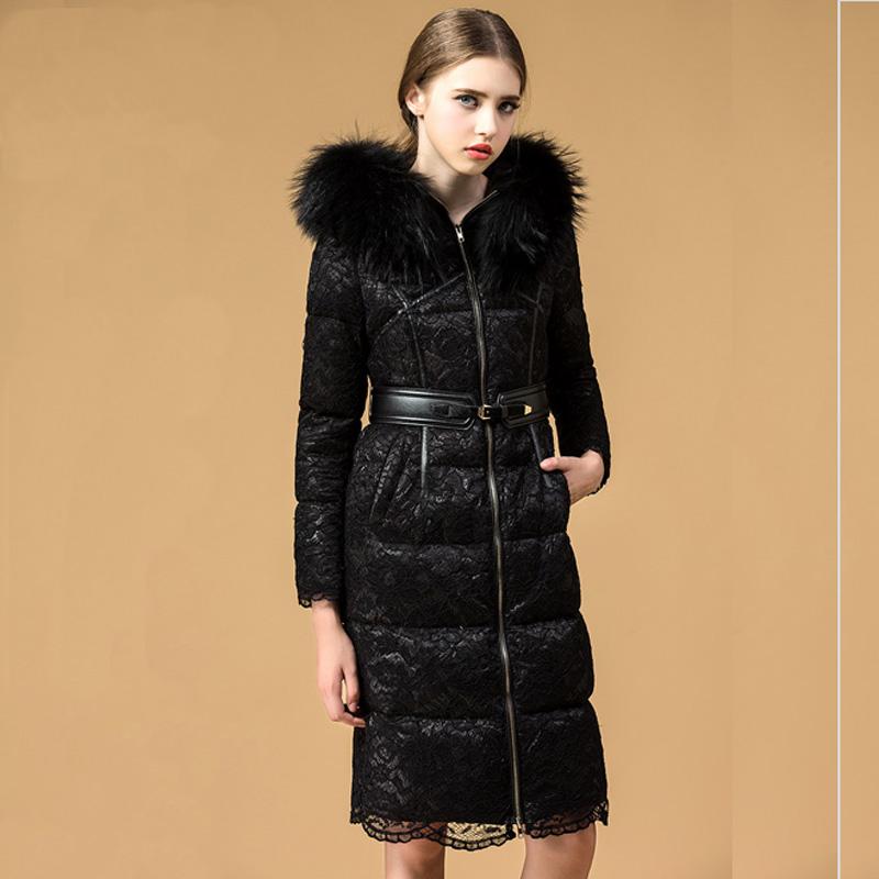 2015 winter lace parka jacket women long slim big fur collar hood duck down coat napapijri women sex lace anorak down jacket c1M(China (Mainland))