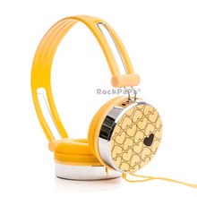 Rockpapa Love Pattern Over ear Boys Kids Girls Children Teens Adult DJ Headphones Headsets Earphones for Kindle Fire HD – Yellow