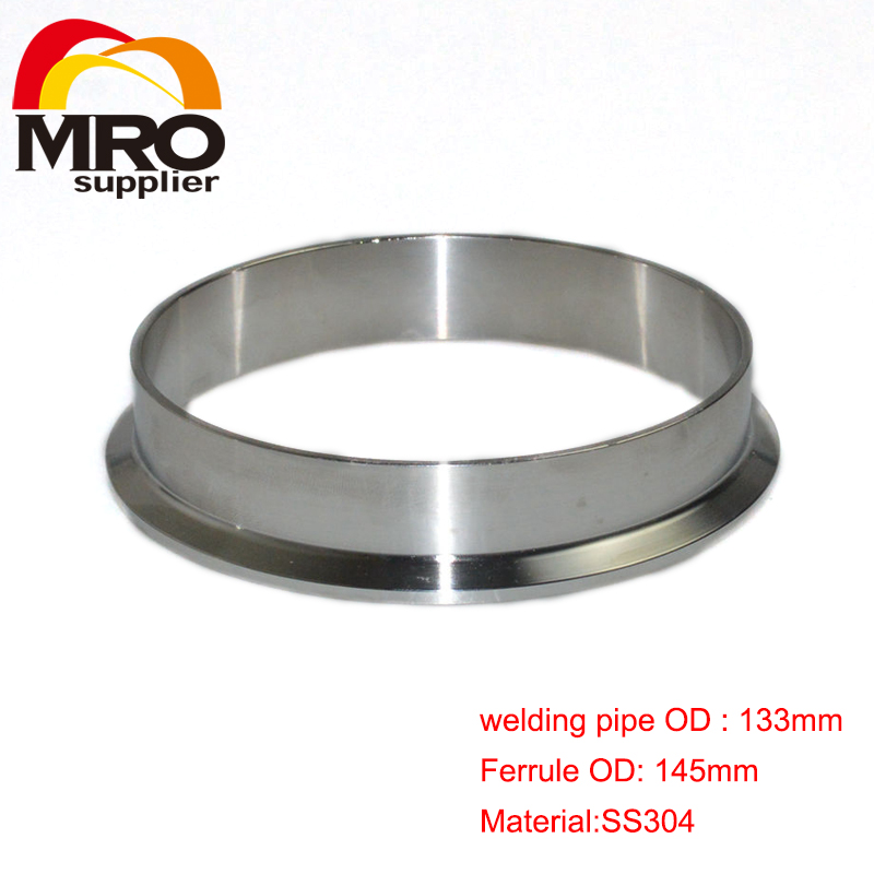 133mm OD Sanitary Weld on 145mm Ferrule Tri Clamp Stainless Steel Welding Pipe Fitting SS304 SW-133(China (Mainland))