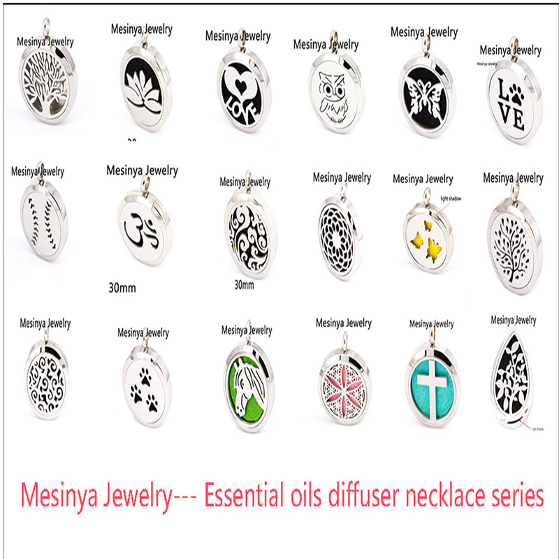 10pcs mesinya new series 19 designs (30mm) Aromatherapy / Essential Oils 316L surgical S.Steel Perfume Diffuser Locket Necklace(China (Mainland))