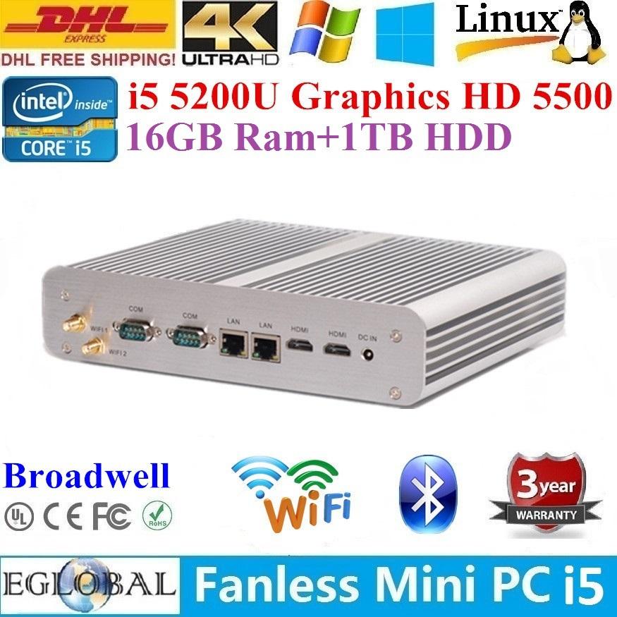Best Performance Fanless Mini PC HTPC 16GB Ram 1TB HDD Broadwell Intel Core i5 5200U 2*Nics+2*COM+2*HDMI Media Center TV Player(China (Mainland))