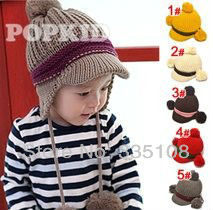 baby boy hat Ear double ball, gib with knitted hat, children hat (5 colors)(China (Mainland))