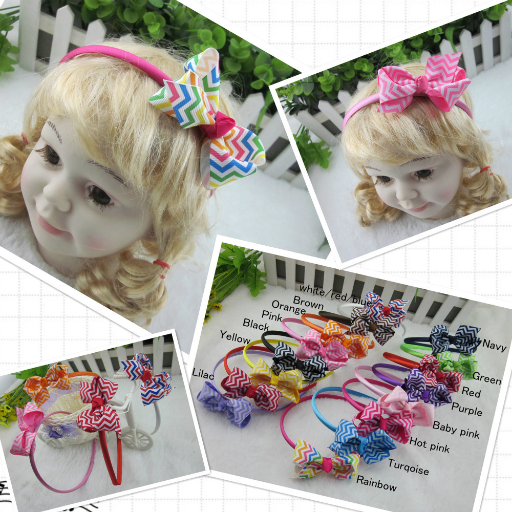 Wholesale 15colors Ribbon Chevron Bow with Satin Girls Hair Band Baby Headband Children Hair Accessories Kids Hairband 15pcs/lot(China (Mainland))