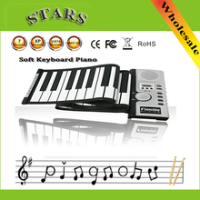 Wholesale 49 Keys Roll up Piano Flexible Electronic Keyboard Piano with loundspeaker music toys for children educational toys(China (Mainland))