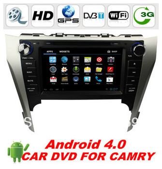 """Free shipping Touch Screen 2 Din 8 """"Android 4.0 ar DVD For Toyota Camry 2012 with 3G/Wifi Car PC BT Ipod Radio TV +WIFI dongle"""