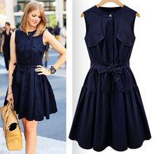 2016 new summer style woman dress plus size wasit vestidosbowknot office dress(China (Mainland))