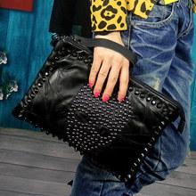 Free shipping Pure sheepskin hand bag shoulder bag skull head rivet hand bag personality one shoulder aslant leather handbag