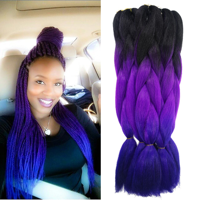Aliexpress.com : Buy Purple Ombre Kanekalon Jumbo Braiding Hair Styles ...
