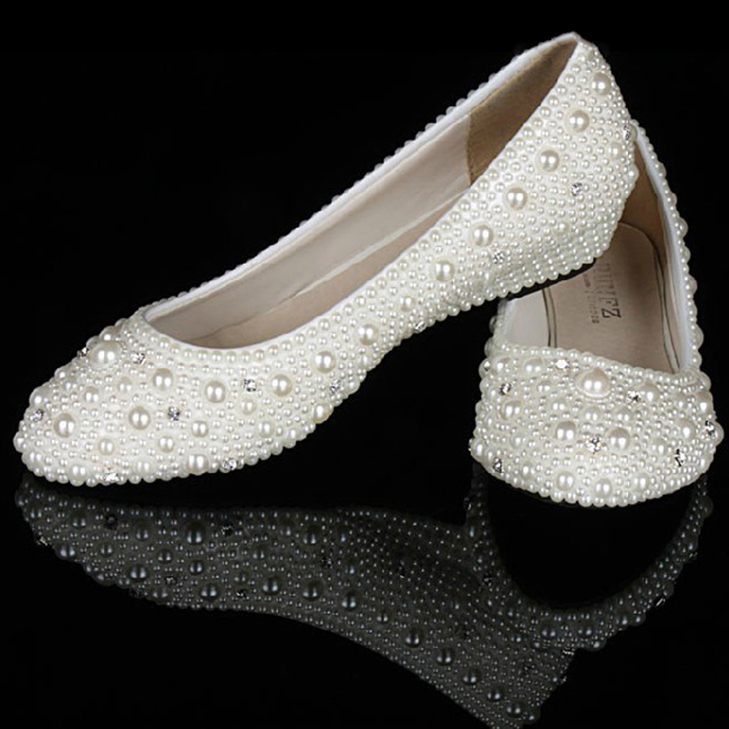 Ivory Pearl Diamonds 1 Inches Wedge Heels Party Shoes Bridal Wedding