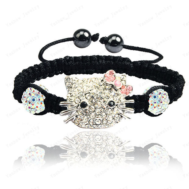 Russia Hello Kitty Wrap Bracelets & Bangles Pave 10mm Crystal AB Clay Ball Crystal Bracelets Mix Options Free SHipping(China (Mainland))