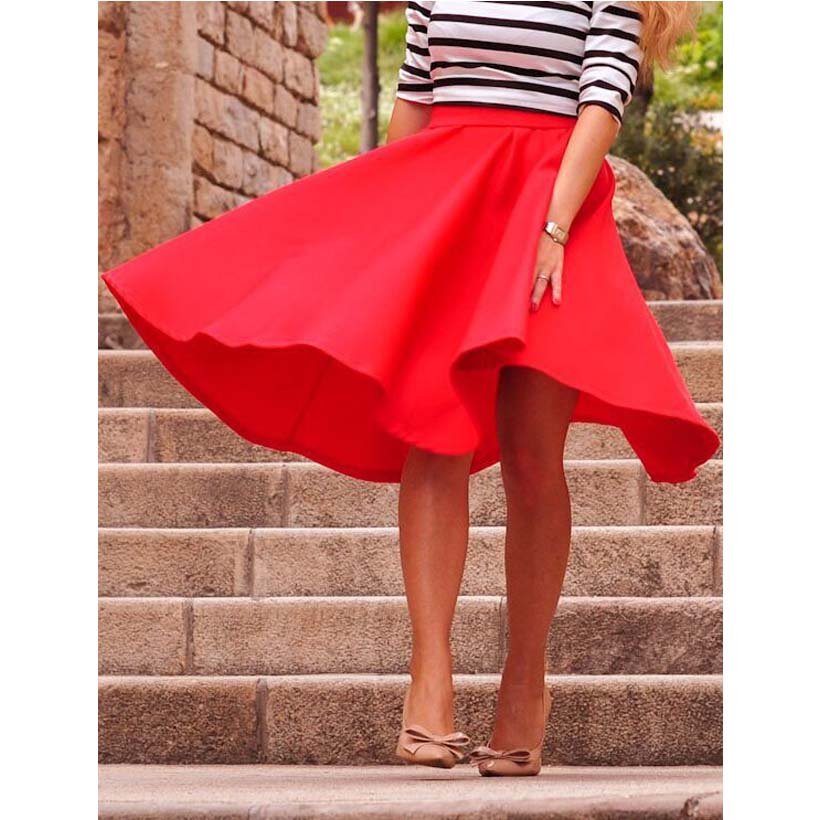 Women Skirt 2016 Autumn Summer Girls Skirt Simple Solid Color Pink Black Breach Clothing A Line Women Midi Skirt Red Hot Sailing(China (Mainland))