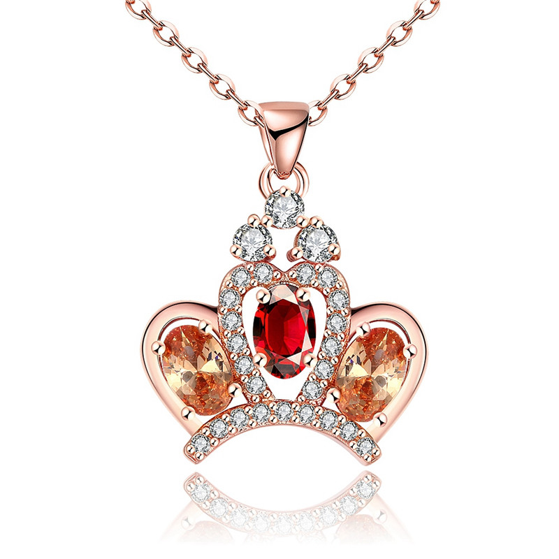 Vintage Bijoux Luxury Multi Color CZ Diamond Crown Design Pendant Necklace Rose Gold Plated Fashion Jewelry For Women QA0026(China (Mainland))