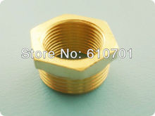 "Brass Pipe 1-1 / 2 "" macho x 1 "" hembra BSPP conexión adaptador reductor de buje Busher conector hexagonal(China (Mainland))"