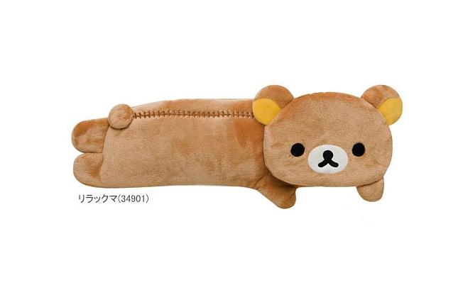 Super Kawaii NEW SIDE Lying SAN-X Rilakkuma Bear 20CM Plush Cotton Coin Pen Pencil BAG Case Pouch ; Hand Coin Purse Wallet Pouch(China (Mainland))