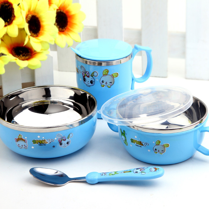 children cartoon lovely stainless steel bento lunch box food container with spoon in dinnerware. Black Bedroom Furniture Sets. Home Design Ideas