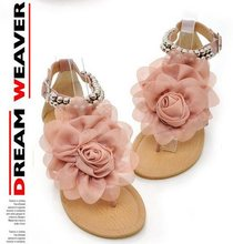 Big Size 34-43 2015 Gladiator Sandals for Women Female Beaded Flower FLat Summer Flip-flop flats Women's Shoes  5100(China (Mainland))