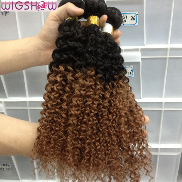 Brazilian Virgin hair 6A Afro Kinky Curly Ombre Hair Extensions 4pcs lot 1B #30 Remy Human Hair Weave Spark Hair Products