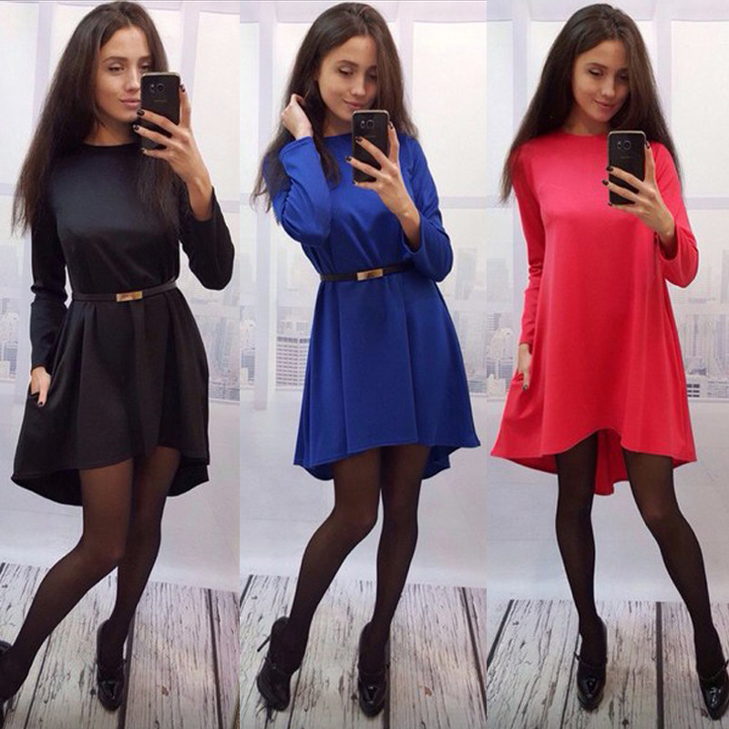 2016 spring summer fashion office ladies dress formal slim O-neck elegant dresses long sleeve Green and Bule casual women dress(China (Mainland))